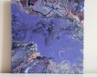 Fluid Painting, Acrylic Painting, Purple Glove, Abstract Painting, Fine Art, Canvas Art, Housewarming Gift, Original Painting, Office Decor