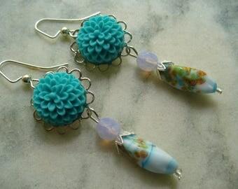 Aqua  Blue Flower Cabochon and Blue Bead Millefiori Dangle Earrings, Long Dangle Earrings, Weddings, Womens Jewelry, Silver Earrings