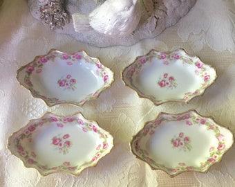 Limoges France Elite Set of 4 Antique Salt Bowls Exquisite and Rare