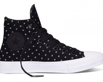 Black Converse High Tops Chuck Taylor II Shield Polka Dot Gray White Custom w/ Swarovski Crystal Rhinestone Jewel All Star Sneakers Shoes