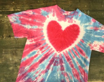 Heart Design Tie Dye T-Shirt