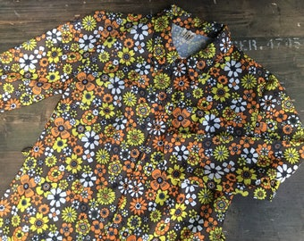 Floral 1970s Polyester Tunic