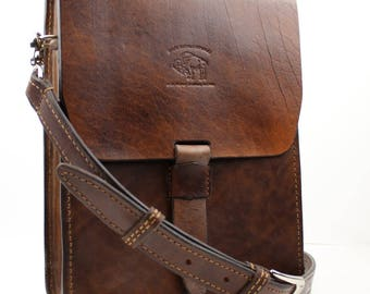 Leather Satchel Vintage Style Distressed  Handmade iPad Messenger 131