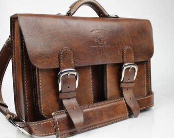 Leather Messenger Bag,  Leather Briefcase, Leather shoulder bag,fits Macbook Pro 129