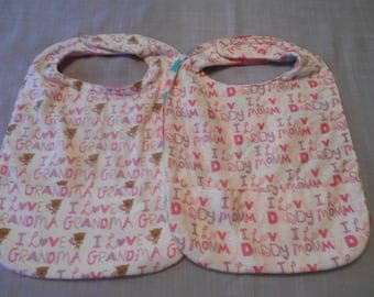 SMALL 'I Love Mommy & Daddy' or 'I love Grandma' REVERSIBLE BIBS for Girls with Pocket and Velcro Fastner