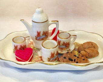 Mini tea set with cookies and croissants,doll food,clay cookies,clay food,clay croissants,miniatures,play food,