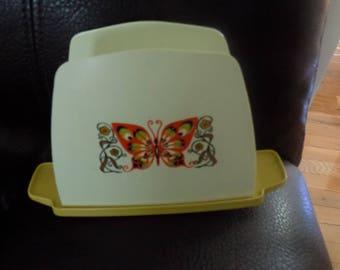 Vintage Butterfly Napkin Holder, Hard Plastic, Harvest Gold Kitchen Decor, Retro, Napkin Storage, Kitchen Organization