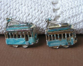 Vintage Streetcar Trolley Scatter Pins . Streetcar Brooch . Trolley Brooch . Transportation Jewelry .