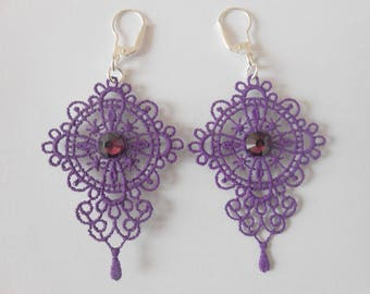 Lace earrings purple with crystal pastes of swarovski and silver ties 925