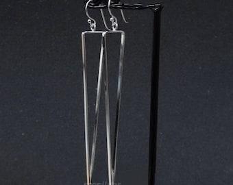 925 Sterling Silver Triangle Earrings Long Earrings Triangular Earrings Dangle Dangling Earring Geometric Earring Modern Silver Jewelry
