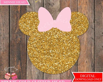 "Minnie Mouse 24"" x 23"" Gold Glitter Head"
