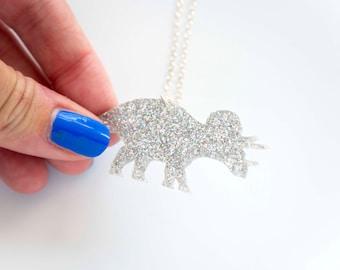 Glitter Triceratops Dinosaur Medium Necklace. Sparkly Dinosaur Pendant. Three Horn Chain. Sparkly Dinosaur Necklace. Tri Horn Dinosaur