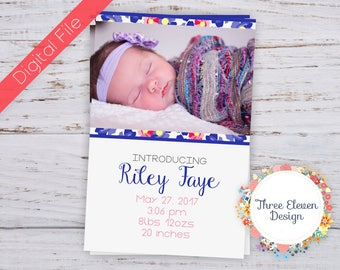 Pink & Purple Floral Printable Birth Announcement - Floral Printable Birth Announcement