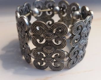 Pewter Bracelet, Stretch Panel Bracelet, Wide Panel Bracelet, Silver Beads, Pearl Beads, Grey Pearl Beads,