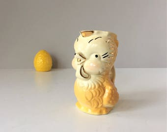 Vintage Baby Chick Pitcher, Imperfect As Is APCO Pitcher, Easter Decor, 1940s Ceramics, American Bisque Pottery Company