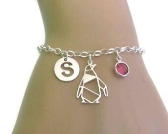 Personalized Penguin Bracelet, Birthstone Bracelet, Initial Bracelet, Sterling Silver Bracelet, Gift for Her