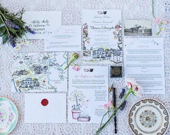 Venue location Custom watercolour invitations wedding bespoke design wedding stationery  l  modern calligraphy  l  save the date
