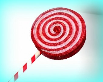 Fake Lollipop Whimsical Decoration White and Red Peppermint Lollipop Wand Photo Prop Christmas Decoration