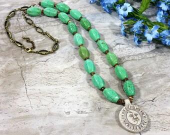 Sun Moon Beaded Necklace, Celestial Necklace, Moon & Sun Necklace, Sun Necklace, God Goddess, Celestial Crescent Moon Pendant