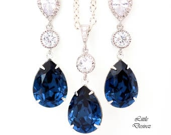 Navy Blue Bridal Set Navy Blue Jewelry Set Bridesmaid Jewelry Navy Bridal Party Jewelry Set Pear Jewelry Set Long Earrings Navy Blue MO31JS