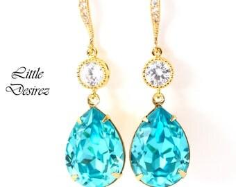 Turquoise Earrings Teal Blue Earrings Swarovski Blue Earrings Blue Bridal Earrings Bezel Earrings Bridesmaid Gift Gold Earrings TQ31HC
