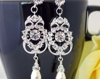 Pearl Bridal Earrings Rhinestone Earrings Chandelier Crystal Earrings Wedding Earrings Dangle Earrings White Jewelry Vintage Style AMENDINE