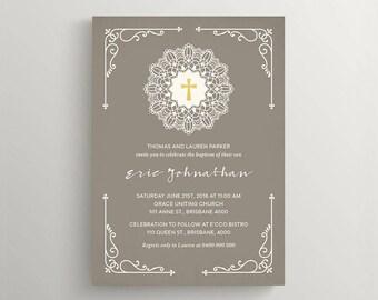 Printable Boy Baptism Invitation \ Brown and Ivory Christening Invitation (CH70)