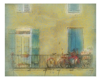 New Orleans Art, French Quarter Scene, NOLA Street Scene, Bicycle Art, Bicycles on Balcony, French Quarter Balcony 8x10 11x14 - Korpita