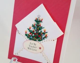 Christmas In July Handkerchief Vintage Embroidered Keepsake Teacher Gift Hankie Card