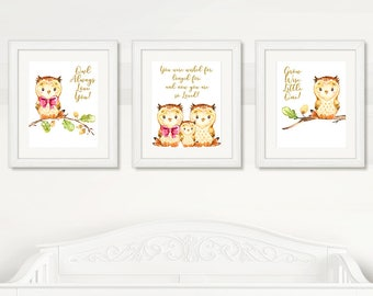 OWL Baby WALL ART, Owls Baby Wall Art, Owl Always Love You, Grow Wise Little One, Owl Baby Wall Art, Digital Printable, Instant Download
