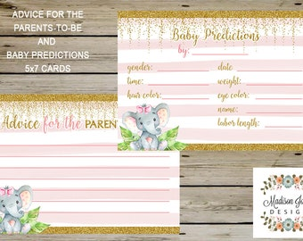 Elephant BABY PREDICTIONS and ADVICE to Parents 5x7 Cards, Baby Predictions Game, Advice to Parents, Instant Download, Digital Printable