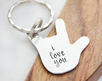 ASL I Love You Keychain - American Sign Language Key Ring - Mother's Day Jewelry - Gift for Someone Special - Gift for Her - Mommy Keychain