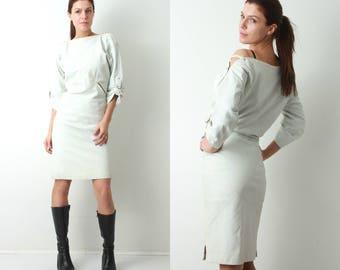 80s Leather Dress / White Leather Dress / Leather Dress / Midi Dress / Avant Garde Dress / Open Shoulders Dress / Large Leather Dress