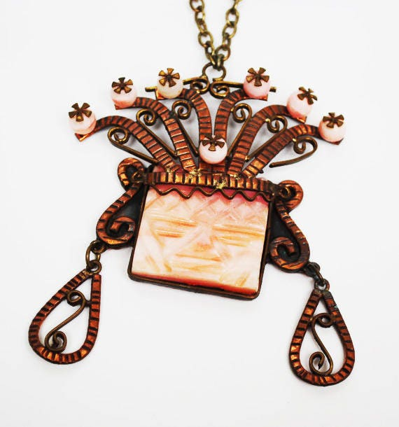 Copper Agate Mask Necklace - Signed Mexico - Tribal Aztec - Pink dyed agate Onyx gemstone -Face headdress pendant