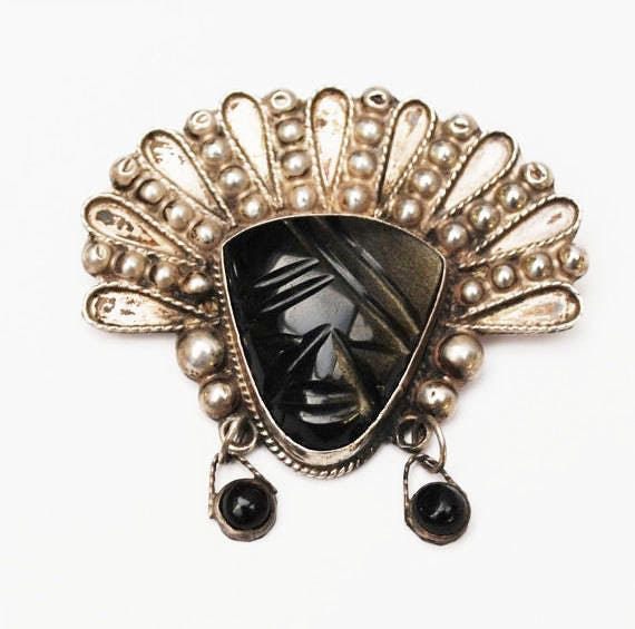 Sterling Mask Brooch - Taxco Mexico - Carved Black Onyx - Tribal Face Pin