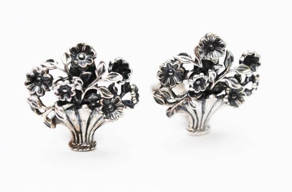 Sterling Napier Flower Earrings - Floral basket - Singed Sterling Pat pend - Clip on earring