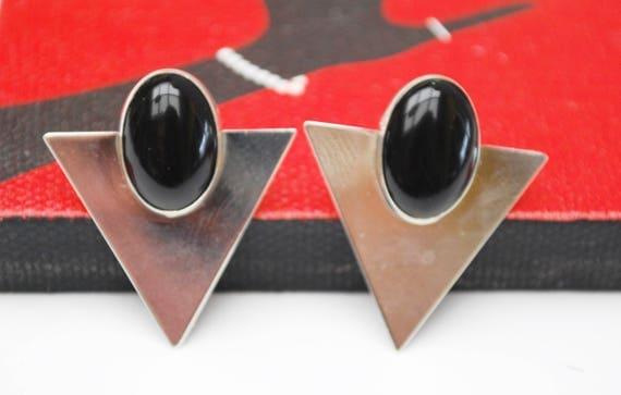 Sterling silver Onyx earrings - modernistic- Southwestern - Pierced  earring