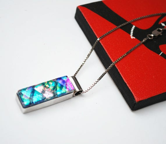 Dichroic Fused Glass Necklace - Sterling silver - Mexico Pendant- Italy  chain Blue green Aqua Purple art glass necklace