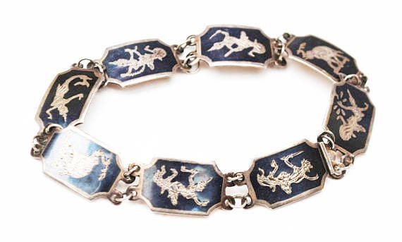 Siam Sterling Link  Bracelet - Neillo Enamel -  Silver Black - Asian - Signed Thailand