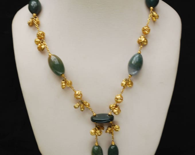 Statement Necklace - Green polished chalcedony gemstone - Gold plated - dangle beads - Tassel necklace