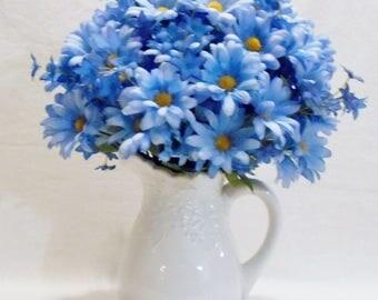 RESERVED FOR JOAN:  Blue Daisies, Blue Peruvian Spray, White Embossed Pitcher/Vase, Silk Flower Arrangement, Silk Floral Home Decor,