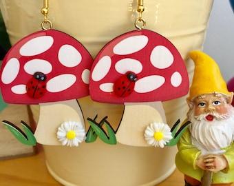 Wooden Toadstool Earrings