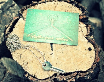 Silver Unisex Key Necklace