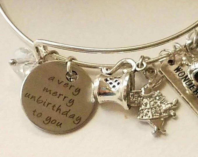 Alice in Wonderland Bangle Bracelet Birthday great 40th birthday gift for woman Belated Birthday Alice in Wonderland jewelry gift