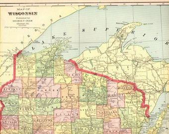 Wisconsin Map Etsy - Map of wisconson
