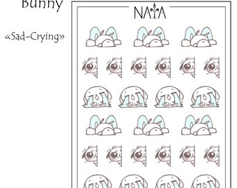 Sad/crying Chamallow Bunny Decorative Stickers for your Erin Condren Life Planner, Plum Planner, Journal, or Scrapbook