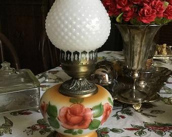 Beautiful Accurate Casting Satin Glass Hurricane Lamp-Ruffled Shade Metal Base