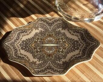 Gorgeous Ceramic Soap Dish-Bathroom -Brown/Sea Green/Gold Trim on Ivory