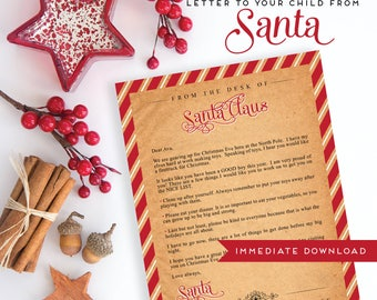 Customizable Letter from Santa, Letter to your child from Santa, Immediate Download