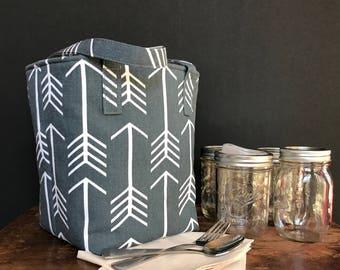 Arrows Mason jar carrier bag, Pint 4 jar Jars to Go bag, lunch picnic shopping tote bag